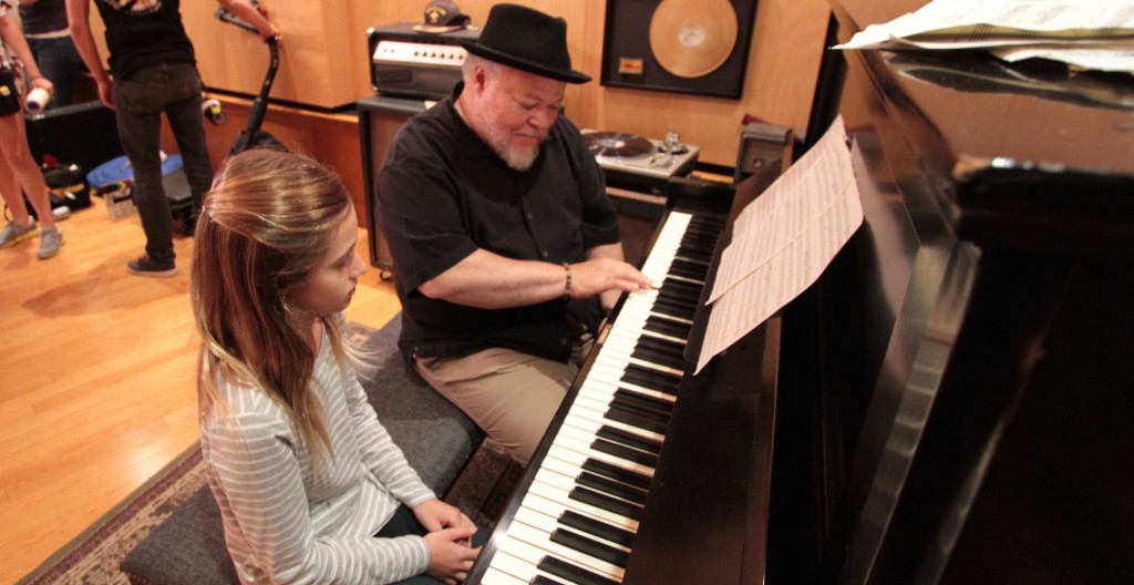 """Two for One"" Actor Stephen McKinley Henderson(Lincoln) rehearses scene with actress Nicole Berger at GCR Studios."