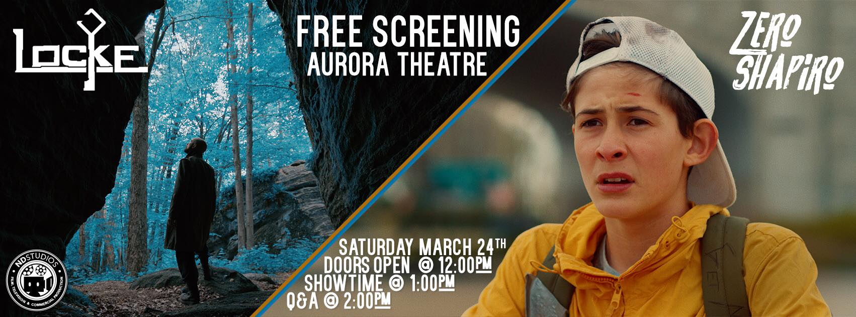 LOCKE and ZERO SCHAPIRO:  Free Screening March 24th in East Aurora