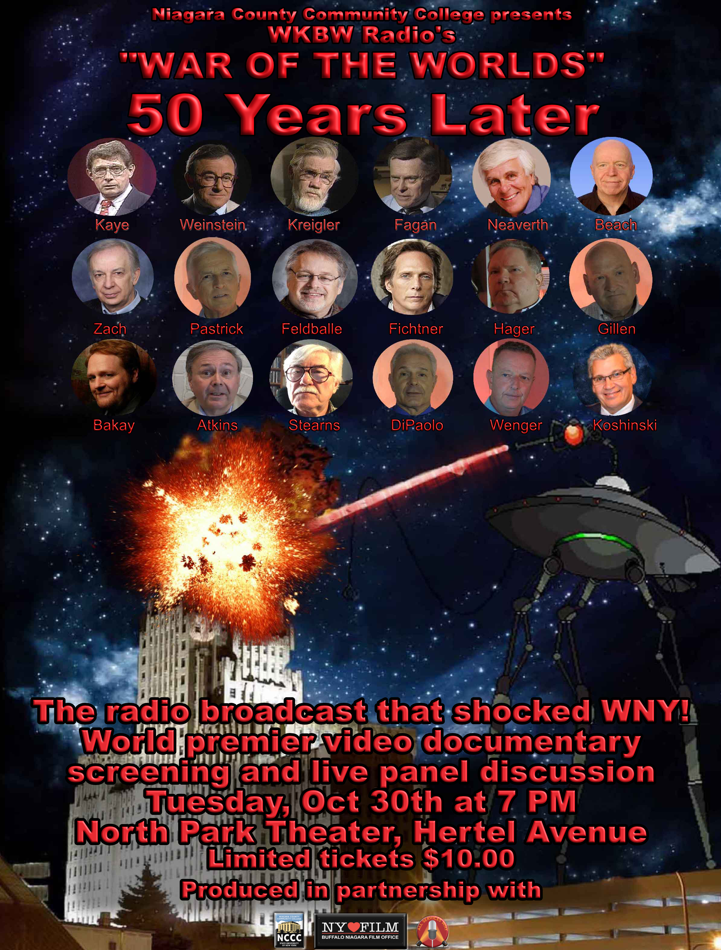 "THIS TUESDAY: WKBW ""War of the Worlds"" 50th Anniversary Documentary Premieres at the North Park"